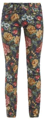 Junya Watanabe Floral Print Cotton Blend Jeans - Womens - Blue Multi