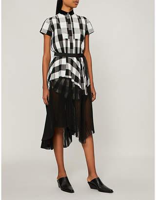 Sacai Pleated plaid dress