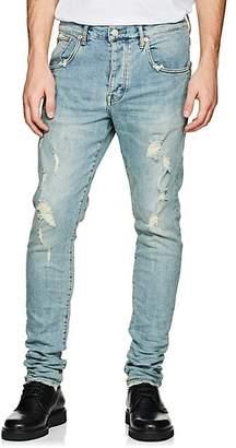 Purple Men's P002 Distressed Skinny Jeans - Blue
