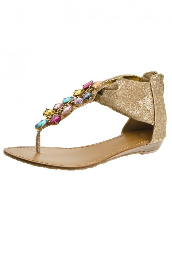 Gold Glitter Multi-Coloured Jewel Flat Sandals