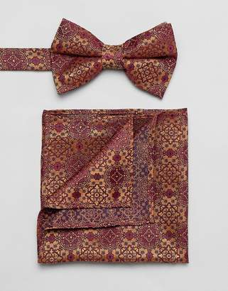 Asos DESIGN bow tie and pocket square in rust jacquard