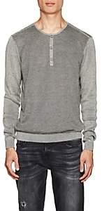 John Varvatos Men's Mixed-Knit Cotton-Blend Henley-Light Gray