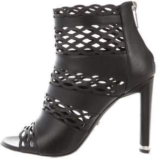 Christian Dior Laser Cut Leather Booties Black Laser Cut Leather Booties