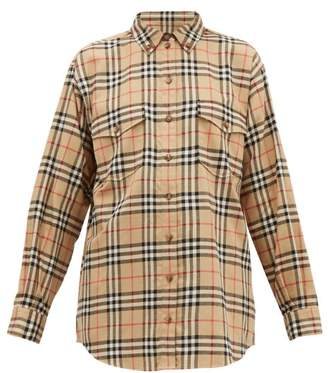 Burberry Turnstone House Check Brushed Cotton Shirt - Womens - Beige Multi