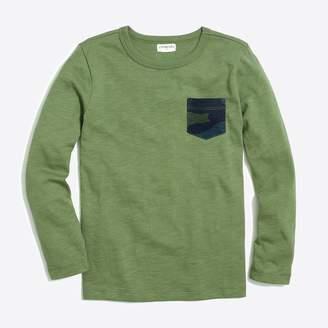 J.Crew Boys' slub cotton contrast pocket T-shirt