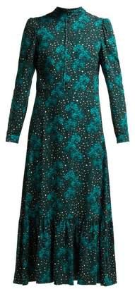Borgo de nor Borgo De Nor - Rafaela Orchid And Leopard Print Crepe Midi Dress - Womens - Green Print