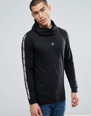 Jack and Jones Core Longline Hoodie With Streetwear Arm Print