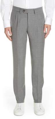 Eleventy Slim Fit Pleated Stretch Wool Trousers