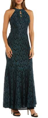Morgan & Co. Glitter Lace Trumpet Gown