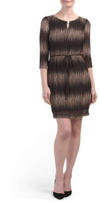 Petite Belted Ombre Dress With Keyhole
