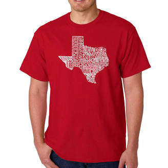 The Great LOS ANGELES POP ART Los Angeles Pop Art State of Texas ShortSleeve Word Art T-Shirt - Big and Tall