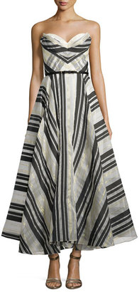 Notte by Marchesa Strapless Striped Ball Gown $1,295 thestylecure.com