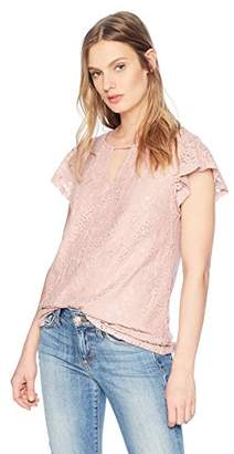 Adrianna Papell Women's Flutter Sleeve Notch Neck Lace Blouse