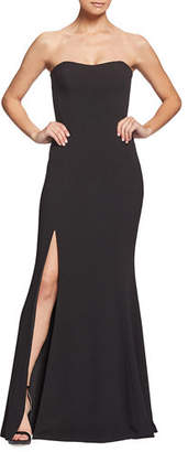 Dress the Population Ellen Strapless Gown with Thigh Slit