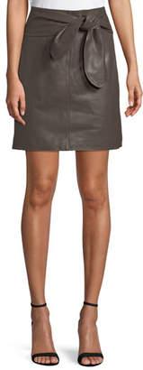Halston Leather Tie-Waist Mini Skirt
