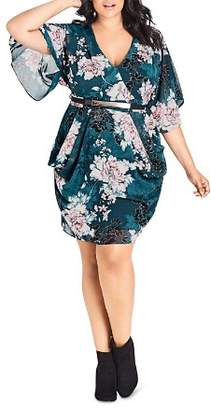 City Chic Plus Jade Blossom Belted Dress