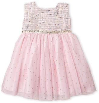 R & E Dorissa (Infant Girls) Brocade Metallic Dot Dress