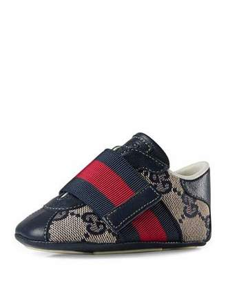 Gucci Icon GG Slip-On Sneaker, Beige/Blue, Infant $195 thestylecure.com