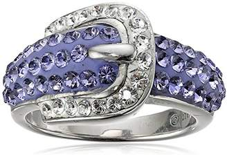 Swarovski Sterling Silver Buckle Shape and White Elements Ring