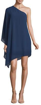 Halston H One Shoulder Georgette Drape Dress