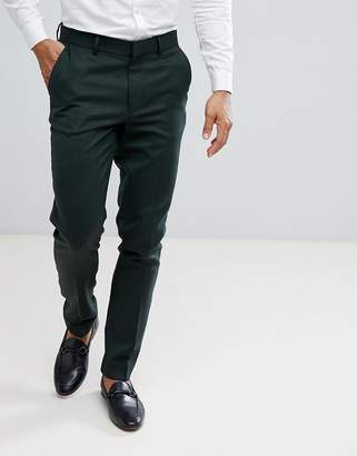 Asos DESIGN Skinny Smart Pants In Dark Green Wool Mix