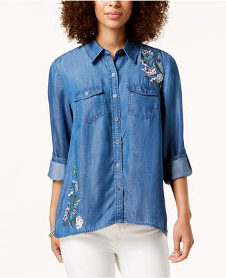 Style&Co. Style & Co Embroidered Button-Front Shirt