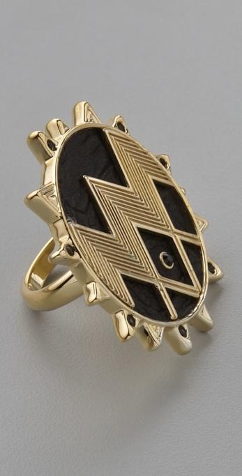 House Of Harlow 1960 Zig Zag Starburst Ring