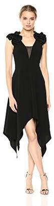 Halston Women's Sleeveless Ruffle Detail V Neck Handkerchief Dress