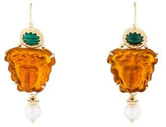 Tagliamonte Malachite & Pearl-Accented Medusa Earrings