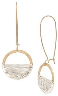 Robert Lee Morris Soho Two-Tone Wire Wrap Shepherd's Hook Earrings