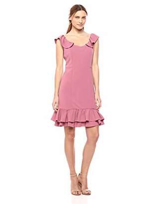 Nanette Lepore Nanette Women's Ss Sheath Dress W/Double Flounce Hem & Ruffle SLV