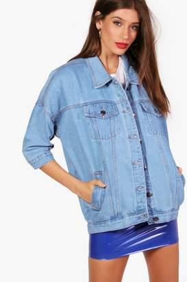 boohoo Faye Oversize Batwing Denim Jacket