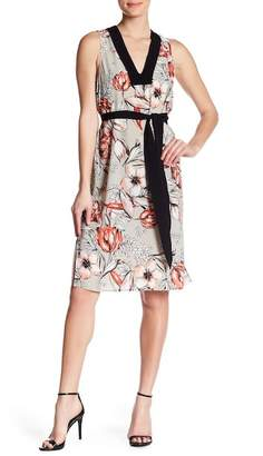 Matty M Floral Belted Crepe Dress