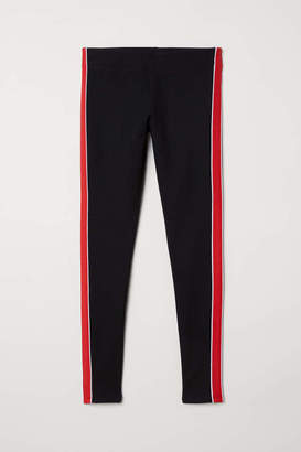 H&M Leggings with Side Stripes - Black/red - Women