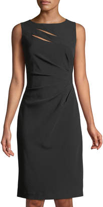 Tahari ASL Side-Ruched Cutout Sheath Dress