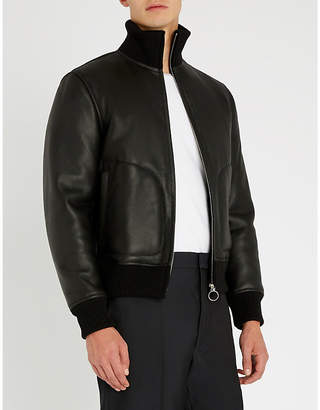 Sandro Odeon funnel-neck leather jacket