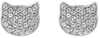 Karl Lagerfeld Rhodium Plated Pave Swarovski Crystal Accented Silhouette Choupette Stud Earrings