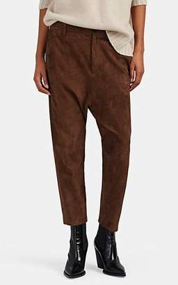 Nili Lotan Women's Paris Suede Drop-Rise Crop Trousers - Cognac