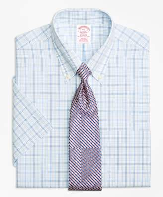 Brooks Brothers Madison Classic-Fit Dress Shirt, Non-Iron Alternating Twin Tattersall Short-Sleeve