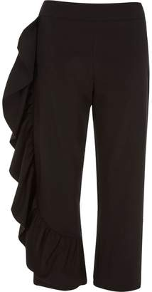 River Island Womens Black frill cropped trousers