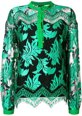 Just Cavalli leaf jacquard sheer blouse