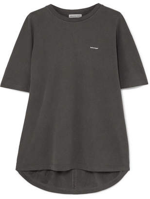 Balenciaga Cocoon Oversized Printed Cotton-jersey T-shirt - Dark gray