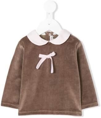 Little Bear bow-detailed velvet blouse
