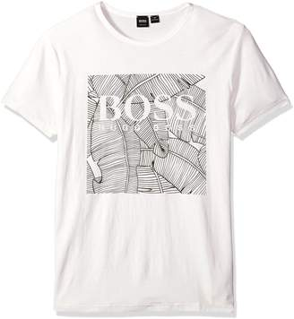 HUGO BOSS BOSS Orange Men's Logo Tee Shirt W/Banana Leaf Graphic