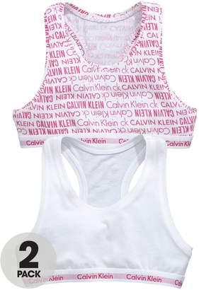 Calvin Klein Girls Logo Bralettes White/Viva Pink (2 Pack)