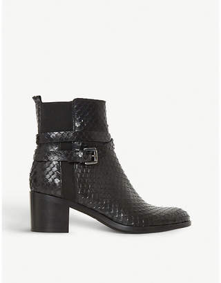Dune Black Peirce reptile-embossed leather ankle boots