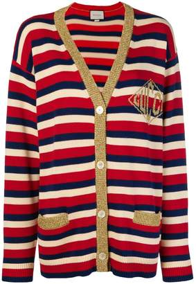 Gucci striped log embroidered cardigan