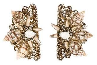 Erickson Beamon Crystal & Shell Fan Earrings