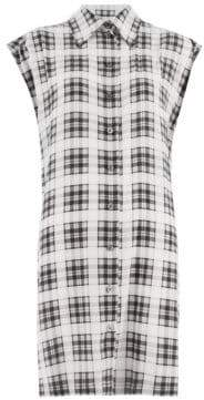 Marc Jacobs Redux Grunge Plaid Washed Silk Sleeveless Shirt