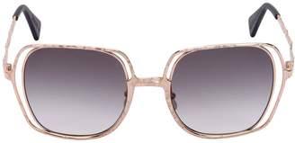 Double Square Frame Metal Sunglasses